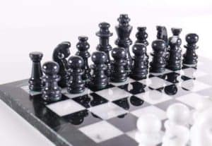 """14"""" Black and White Marble Chess Set"""