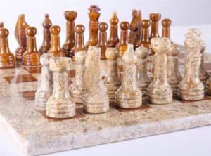 """16"""" Marble Chess Set in Coral and Red"""