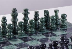"""16"""" Marble Green and Black Chess Set"""