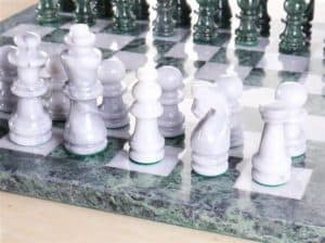 """16"""" Marble Green and White Chess Set"""