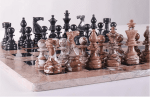 "16"" Marble Chess Set Euro Design in Marina & Black"