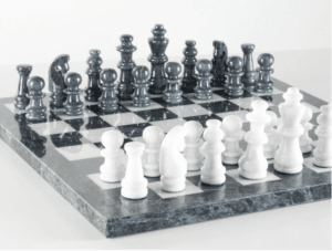 """16"""" Black and White Marble Chess Set"""