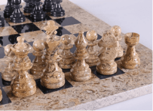 """16"""" Marble Chess Set American Design in Coral & Black"""
